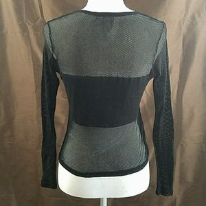Vintage Tops - 90s MODA INTL long sleeve mesh tee punk goth shirt